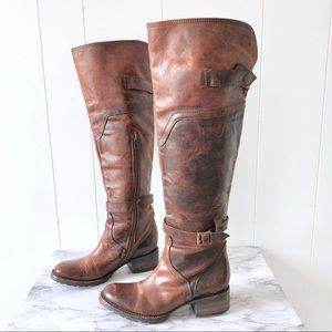 Freebird • Quebec Tall Brown Buckle Boots Cognac